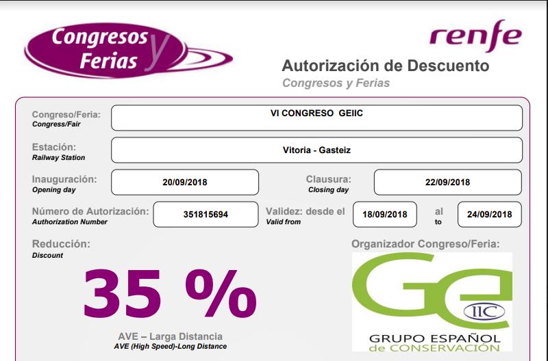 ¡Atención!, descuento del 35% en RENFE para AVE y Larga Distancia para asistentes al VI Congreso del GEIIC